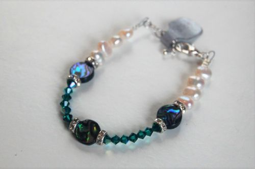 Paua,  Pearl and Swarovski Bracelet Emerald WAS £25 PB10